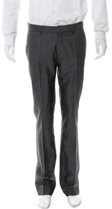 Christian Dior Flat Front Wool & Silk-Blend Pants