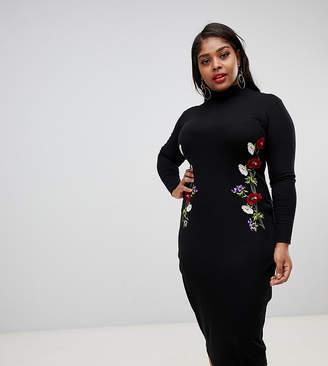 24059272601 Asos DESIGN Curve embroidered rib midi bodycon dress with open back