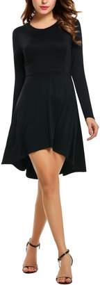 Meaneor Women's High Low Hem Slim Fit Solid Waist Dress M