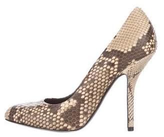 Celine Round-Toe Snakeskin Pumps