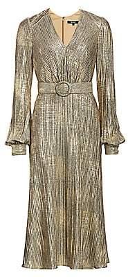 Badgley Mischka Women's Plissé Foil Metallic Belted Puff-Sleeve A-Line Midi Dress