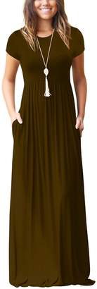 Freemale Womens Short Sleeve Crewneck Solid Casual Long Maxi Dress with Pockets (, S)