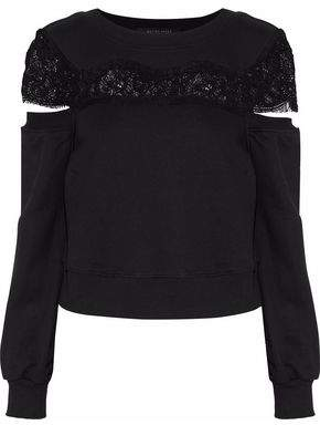 Walter W118 By Baker Casey Cold-Shoulder Lace-Paneled French Cotton-Blend Terry Sweatshirt