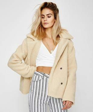 Don't Ask Amanda Audrey Faux Fur Coat Cream