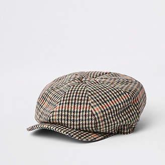 River Island Light grey check baker boy cap
