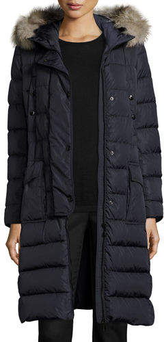 Moncler Moncler Khloe Quilted Puffer Coat w/Fur Hood