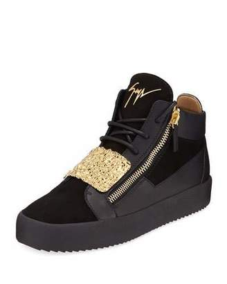 Giuseppe Zanotti Men's Hammered-Plate Leather Mid-Top Sneakers