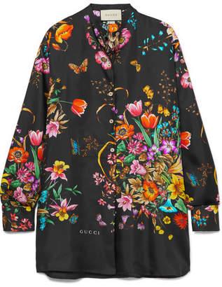 Gucci Oversized Floral-print Silk-twill Shirt - Black