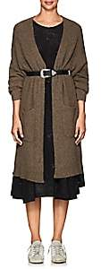 Pas De Calais Women's Yak Wool Long V-Neck Cardigan-Brown