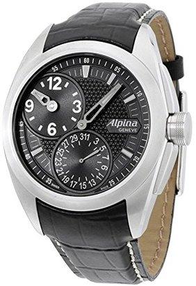 Alpina ナイトライフクラブブラックダイヤルレザーストラップメンズ腕時計al950b4rc6