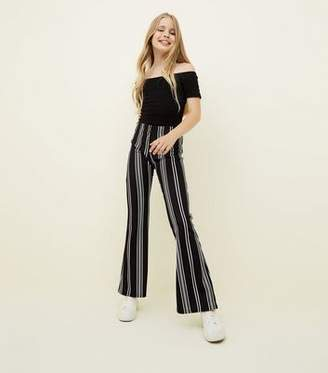 New Look Teens Black Stripe Crepe Flared Trousers
