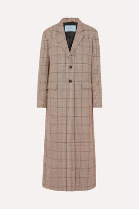 Prada Houndstooth Wool-blend Tweed Coat - Beige