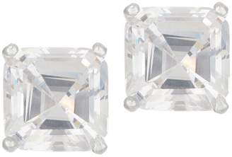 Diamonique 3.00 ct tw Asscher Stud Earrings Platinum Clad