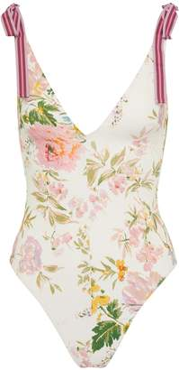 Zimmermann 'Heathers' tie shoulder garden floral print one-piece swimsuit