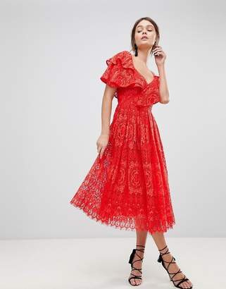 Asos DESIGN Ruffle One Shoulder Lace Prom Dress