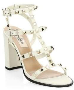 VALENTINO GARAVANI Rockstud Leather T-Strap Block Heel Sandals