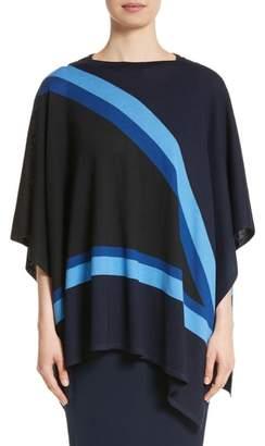 St. John Intarsia Knit Jersey Poncho