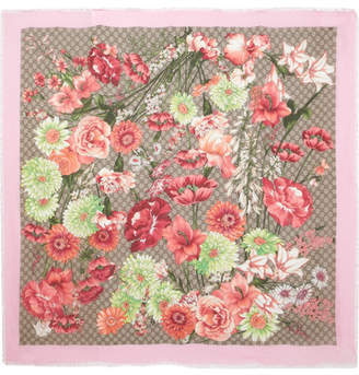 Gucci Frayed Printed Modal And Silk-blend Scarf - Pink