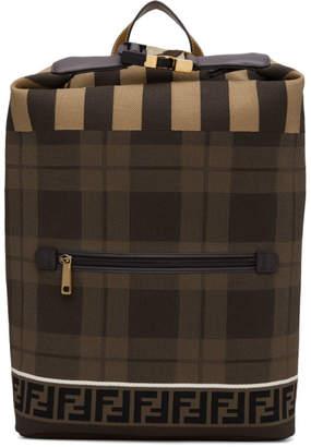 Fendi Brown Tech Knit Tartan Forever Backpack