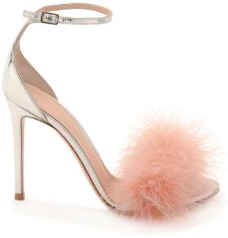 Gianvito Rossi Strappy Metallic Sandal with Pink Fluff