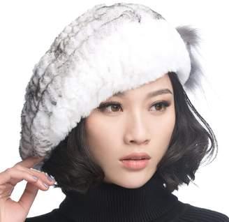 07fe1e955d9 at Amazon Canada · URSFUR Winter Women s Rex Rabbit Fur Beret Hats with Fur  Flower