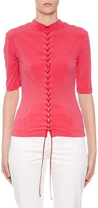 Unravel Lace-Up Rash Guard Style Top