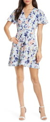 French Connection Armoise Floral Crepe Fit & Flare Dress