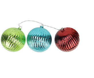 Asstd National Brand Set of 3 Lighted Multi-Color Mercury Glass Finish Ribbed Ball Christmas Ornaments - Clear Lights