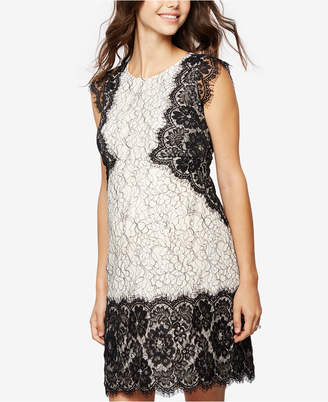 A Pea In The Pod Maternity Cap-Sleeve Lace Dress $188 thestylecure.com