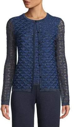 St. John Metallic Diamond Lace Knit Cardigan