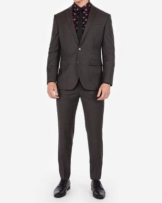 Express Classic Charcoal Gray Wool-Blend Stretch Suit Pant