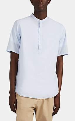 Officine Generale Men's Organic Cotton Voile Half-Placket Shirt - Lt. Blue