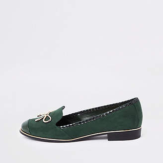 River Island Green gold tone bow loafers