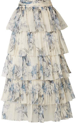 Johanna Ortiz - Journey Of The Soul Tiered Pleated Floral-print Silk-organza Skirt - White