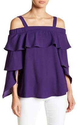 Romeo & Juliet Couture Ruffle Trim Cold Shoulder Top