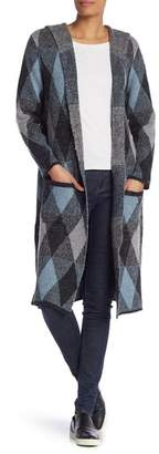 Joseph A Hooded Plaid Maxi Cardigan