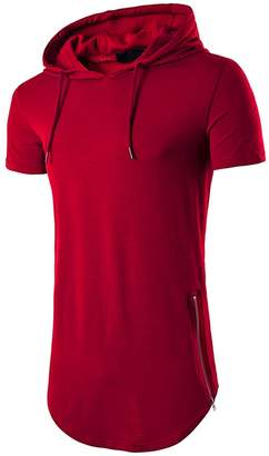 XARAZA Men's Hip Hop Short Sleeve Longline Pullover Hoodies Shirts with Side Zipper (XXL, )