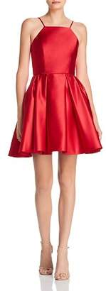 Avery G Satin Fit-and-Flare Dress