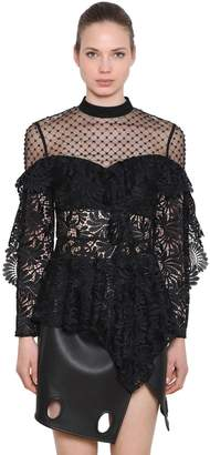Self-Portrait Lace & Beaded Tulle Top