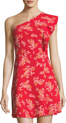 Neiman Marcus 19 Cooper Floral-Print One-Shoulder Dress