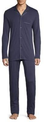 Hanro Men's Two-Piece Narius Long Sleeve Pajamas - Opaque Blue - Size XL