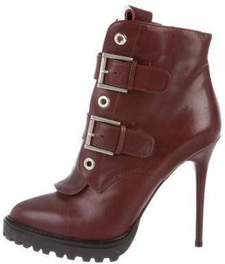 Alexander McQueen Leather Buckle-Accented Ankle Boots