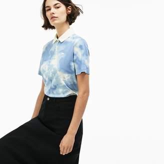 Lacoste Women's LIVE Boxy Fit Cloud Print Cotton Mini Pique Polo