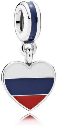 Pandora Russia Heart Flag Pendant Charm - Enamel / Sterling Silver / Blue / Red / White