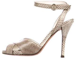 Saint Laurent Eva Snakeskin Sandals