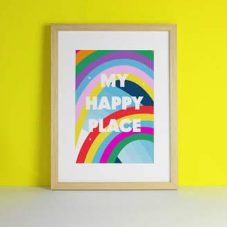 Paper Joy Happy Place Personalised New Home Rainbow Art Print