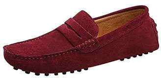 JIONS Men's Driving Penny Loafers Suede Driver Moccasins Slip On Flats Casual Dress Boat Shoes 9.5 D(M) US/EU 43