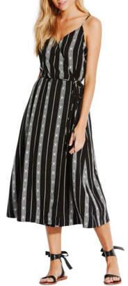Seafolly NEW Lattice Stripe Wrap Dress Black