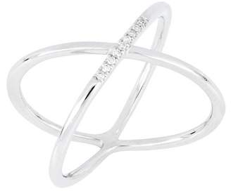 Carriere Sterling Silver Diamond Wide Cross Ring - 0.04 ctw