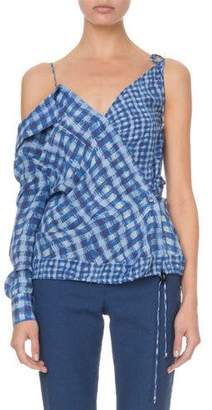 Altuzarra Nola One-Sleeve Gingham Blouse